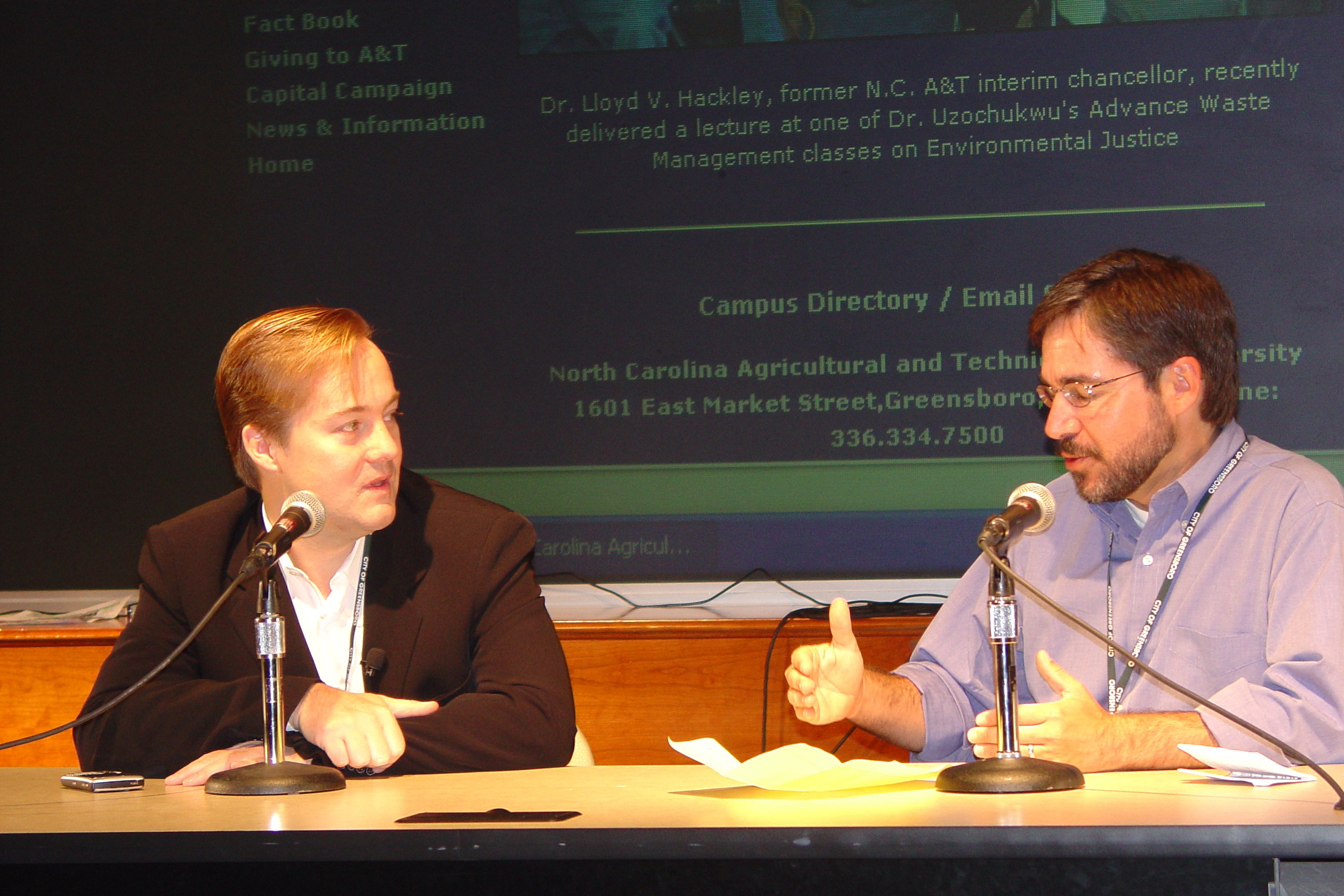 Jason Calacanis, left, and Ed Cone at ConvergeSouth07.