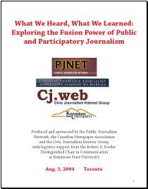The cover page of the Fusion Power of Public and Participatory Journalism report